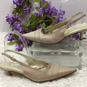 Versani metallic gold sling back heels